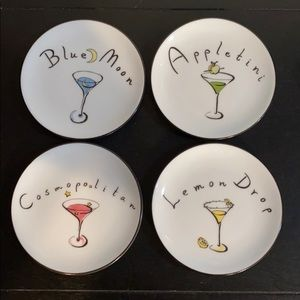 Pottery Barn Cocktail Coasters / Plates ~ Set of 4